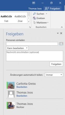 Das gleichzeitige Arbeiten an Office-Dokumenten wird in Office 2016 angezeigt (Screenshot: Thomas Joos).