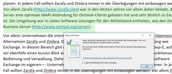 Office 2016 erkennt wenn mehrere Benutzer gleichzeitig an Dokumenten arbeiten (Screenshot: Thomas Joos).
