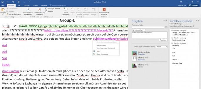 Die Speicherfunktion in Office 2016 erkennt Konflikte und kann Datenverlust und gegenseitiges Überschreiben zuverlässig verhindern (Screenshot: Thomas Joos).