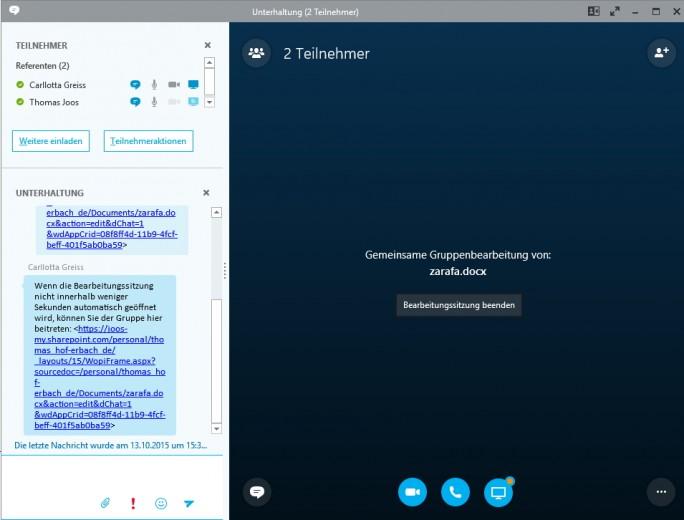 Auch in Skype for Business können Anwender das gleichzeitige Bearbeiten von Dokumenten starten (Screenshot: Thomas Joos).