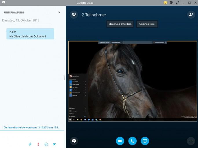 In Skype for Business können Anwender auch den Desktop eines beliebigen Monitors teilen (Screenshot: Thomas Joos).