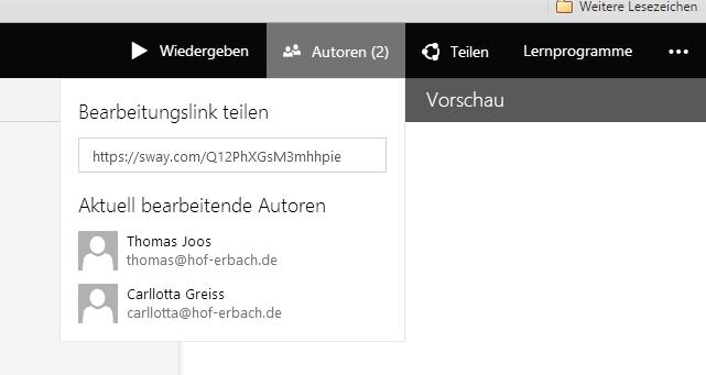 Mit Sway können Anwender gemeinsam an Präsentationen arbeiten (Screenshot: Thomas Joos).