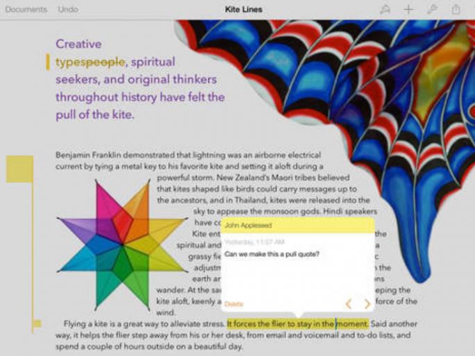 Textverarbeitung Pages auf einem iPad (Bild: Apple)