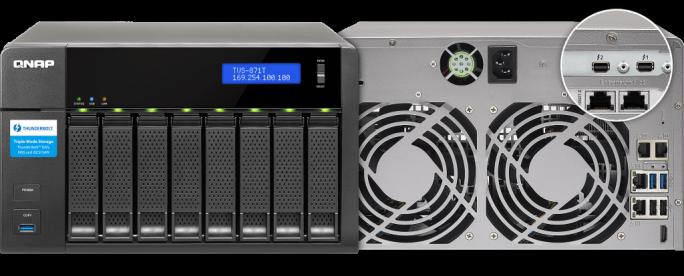 Neben jeweils zwei Thunderbolt-2- und 10-Gigabit-LAN-Ports bietet das Qnap TVS-871T auf der Rückseite unter anderem noch vier Gigabit-LAN-Anschlüsse (Bild: Qnap).