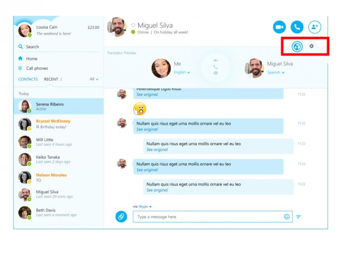 Das Skype-Translator-Symbol zeigt die Verfügbarkeit der Übersetzungsfunktion an (Bild: Microsoft).