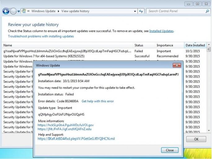 Buchstabensalat und ziellose Links sorgen für Verwirrung (Screenshot: Microsoft-Supportforum).