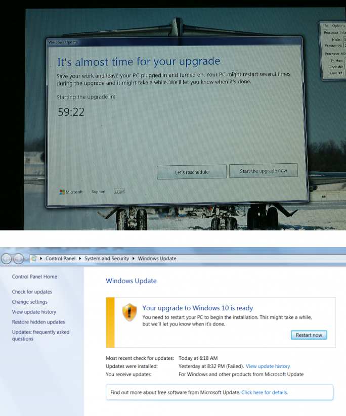 "Microsoft zwingt manche Systeme praktisch zum Upgrade auf Windows 10 (Screenshots via <a href=""http://blog.ultimateoutsider.com/2015/08/using-gwx-stopper-to-permanently-remove.html"" target=""_blank"">Ultimate Outsider</a>)."