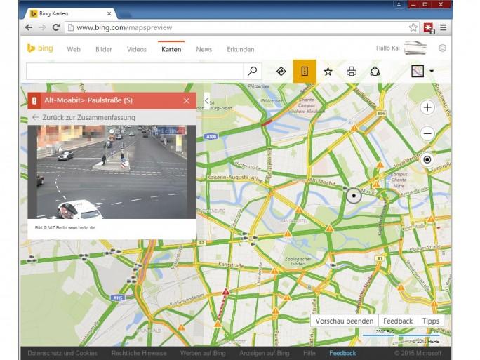 Bing Maps: Verkehrsüberwachungskameras Berlin (Screenshot: ZDNet.de)