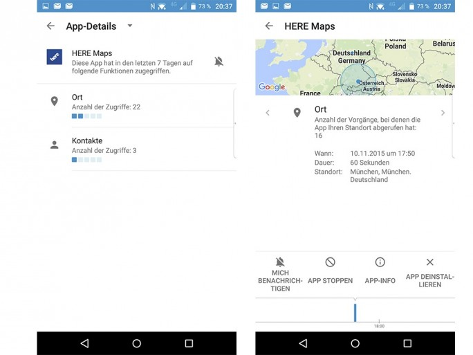 Blackberry Priv: DTEK kann auch zeigen, wann und vor allem wo eine App auf den Ort zugegriffen hat (Screenshot: Moritz Jäger).