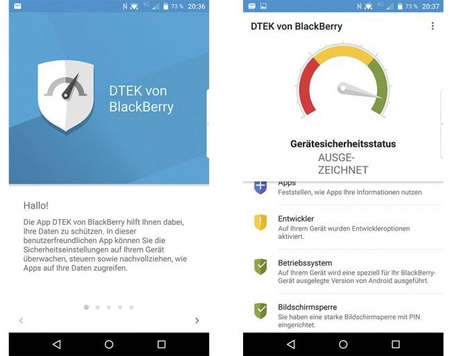 Blackberry Priv: DTEK informiert über den Zugriff von Apps auf private Daten (Screenshot: Moritz Jäger)