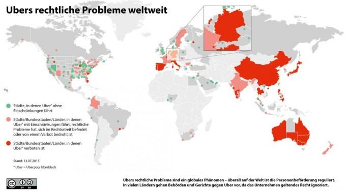 Eine von der Genossenschaft Taxi Deutschland zusammengestellte Infografik zeigt den Status von Ubers weltweiten Rechtsstreitigkeiten. Stand der Grafik ist der 13. Juli 2015. Nur in den grün markierten Städten und Regionen steht der Dienst wie geplant zur Verfügung (Grafik: Taxi Deutschland eG).