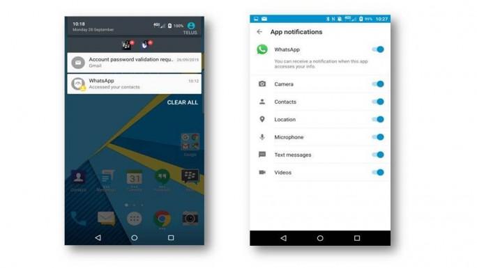 Blackberrry Priv: DTEK informiert über den Zugriff auf persönliche Daten (Bild: Blackberry)