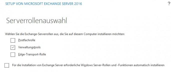 Exchange 2016 verfügt nur noch über die beiden Rollen Postfachserver und Edge-Transport. Die Serverrollen Clientzugriff und Hub-Transport wurden abgeschafft (Screenshot: Thomas Joos).