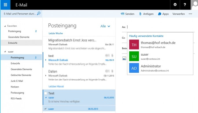 Outlook Web App oder auch Outlook im Web genannt wurde in Exchange 2016 überarbeitet (Screenshot: Thomas Joos).