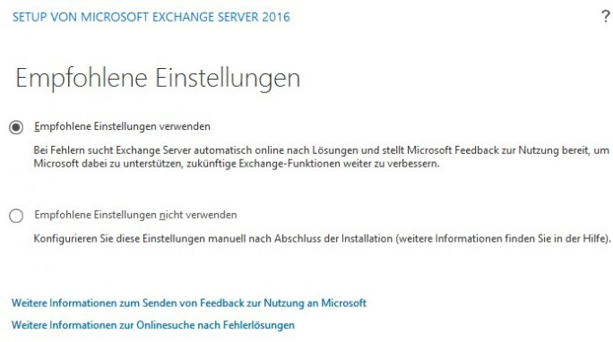 Auswählen der Installationsoptionen von Exchange 2016 (Screenshot: Thomas Joos)