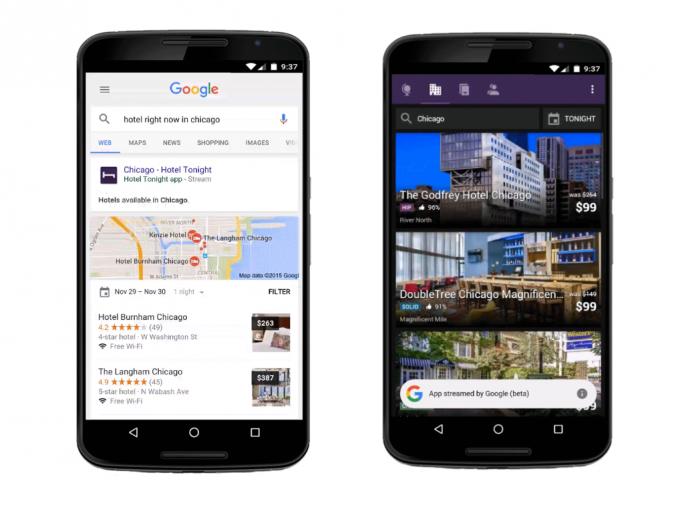 Die Google-Suche streamt ab sofort ausgewählte mobile Apps aus der Cloud auf Android-Handys - vorerst allerdings nur in den USA (Bild: Google).