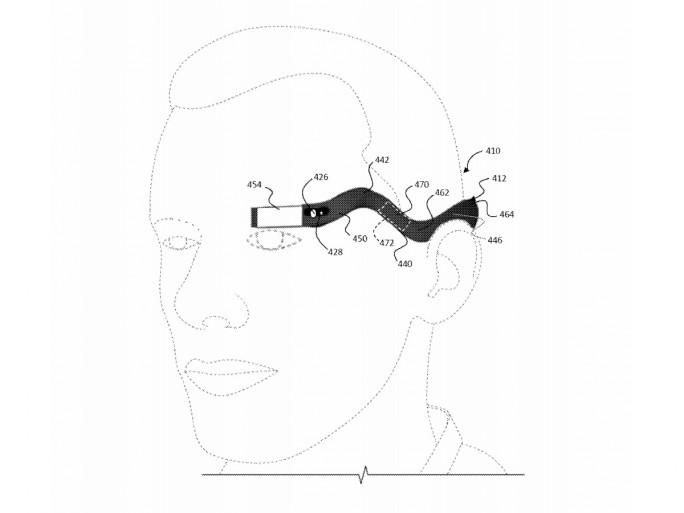 Die Einglasversion von Google Glass wird mit einem flexiblem Bügel am Kopf befestigt (Bild: USPTO/Google).