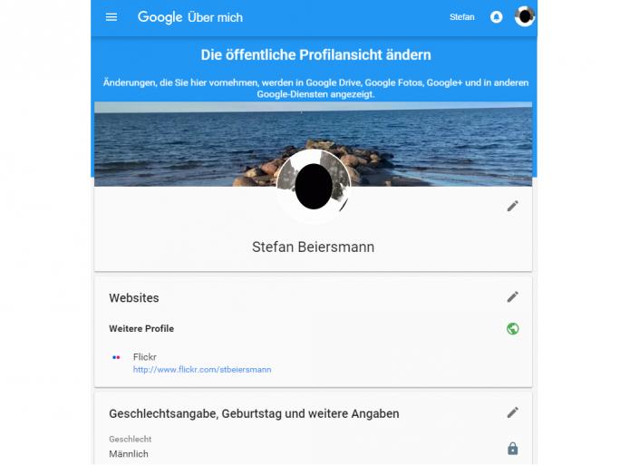 Google Über mich (Screenshot: ZDNet.de)