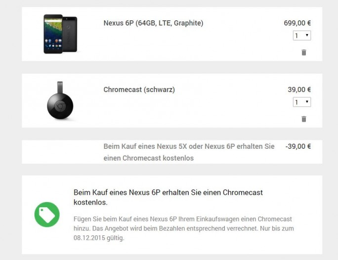Nexus 6P mit Chromecast (Screeenshot: ZDNet.de)