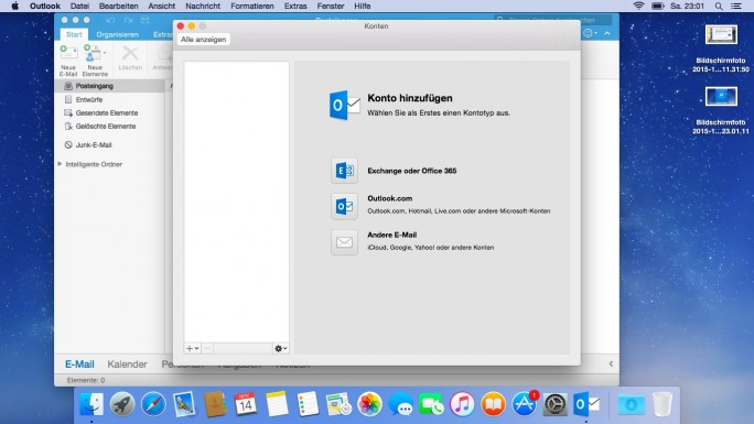 Outlook 2016 für Mac wird etwas anders an Exchange angebunden, als die Windows-Version (Screenshot: Thomas Joos).