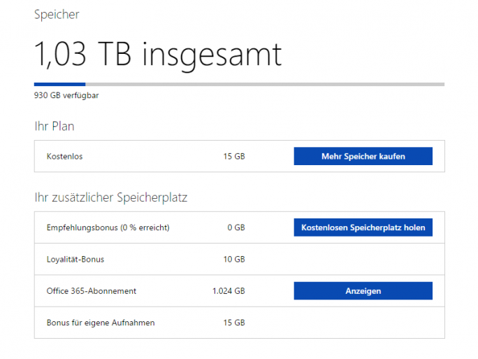 Office-365-Abonnenten erhalten künftig nur noch maximal 1 Terabyte OneDrive-Speicher. Auch der Bonus für eigene Aufnahmen und 10 der 15 kostenlosen GByte fallen weg (Screenshot: ZDNet.de).