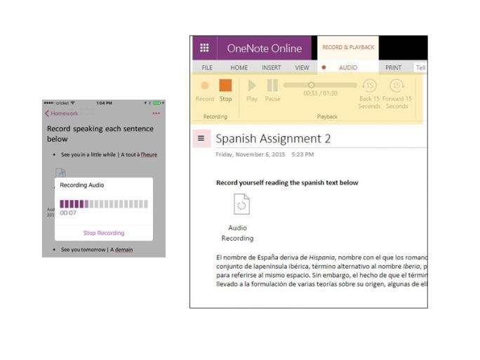 OneNote für iOS und OneNote Online können ab sofort Audio aufzeichnen und in Notizen einfügen (Bild: Microsoft).