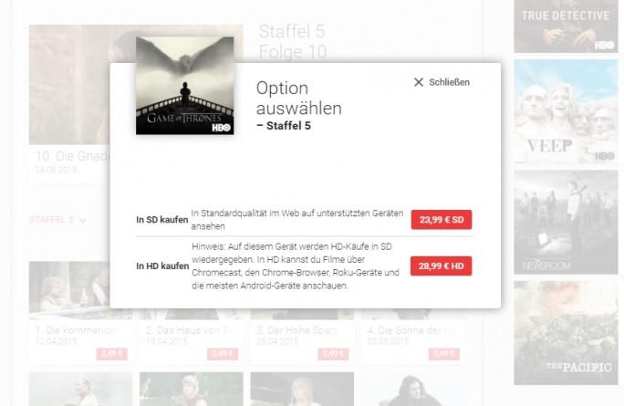 Anwender können meist zwischen SD- und HD-Qualität wählen (Screenshot: ZDNet.de).