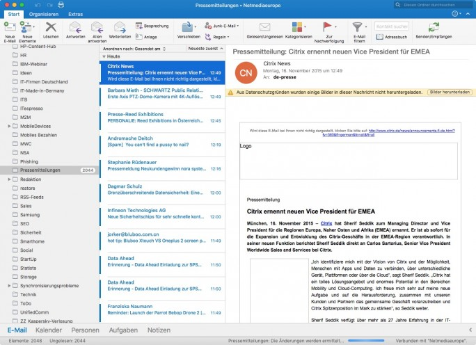 Outlook für Mac 2016 (Screenshot: ZDNet.de)