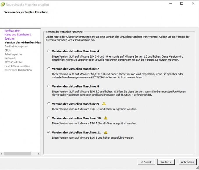 Bei der Virtualisierung mit Hyper-V oder VMware müssen Administratoren auf die Hardware-Version der VM achten, mit welcher die UCC-Lösung zur Verfügung gestellt werden soll (Screenshot: Thomas Joos).