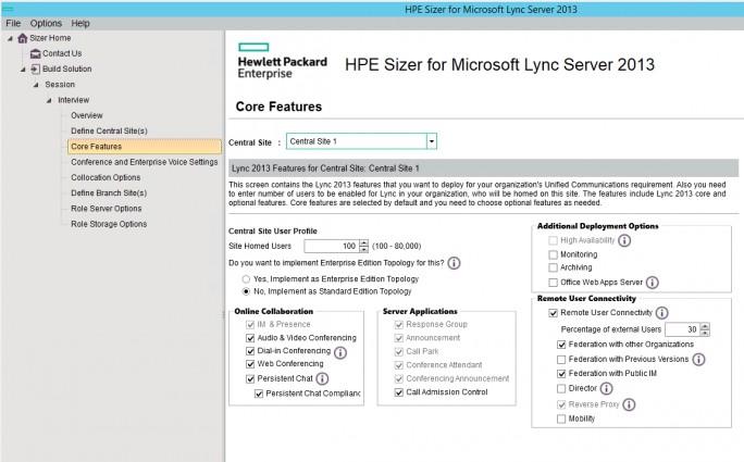 Mit dem HP Sizer for Microsoft Lync Server können Unternehmen Ihre Umgebung für die Einbindung von Lync/Skype planen (Screenshot: Thomas Joos).