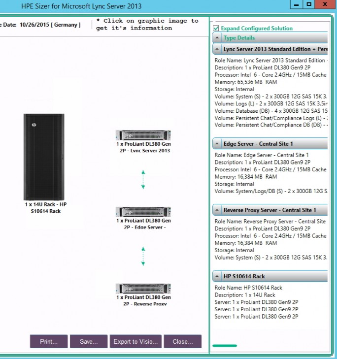 Mit dem HPE Sizer for Lync Server 2013 können Unternehmen die Server exakt planen, um Lync/Skype optimal zu betreiben (Screenshot: Thomas Joos).