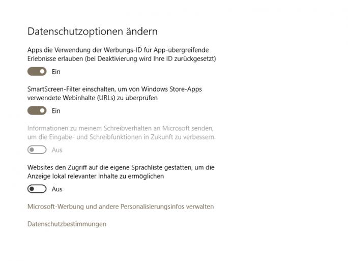 Die erste Version des November-Updates hat unter Umständen die Einnstellungen für die Werbungs-ID und den SmartScreen-Filter für Windows-Store-Apps zurückgesetzt (Screenshot: ZDNet.de).
