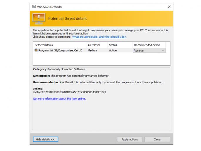 Windows Defender erkennt und entfernt das gefährliche Dell-Zertifikat DSDTestProvider (Screenshot: Ed Bott/ZDNet.com).