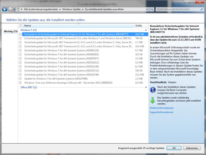 Microsoft hat zum November-Patchday zwölf wichtige Updates veröffentlicht (Screenshot: ZDNet.de).