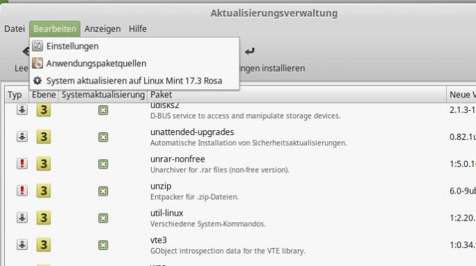 Linux Mint: Update auf Rosa (Screenshot: ZDNet.de)