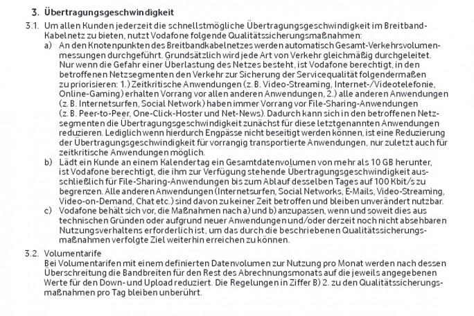 Die entscheidenden aber etwas vagen Passagen in den Vodafone-AGB (Screenshot: ITespresso.de)