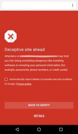 Safe Browsing warnt Nutzer von Chrome für Android vor dem Aufruf potenziell gefährlicher Websites (Bild: Google).