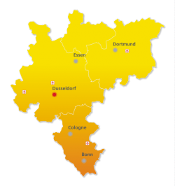 Düsseldorf liegt mitten in der bevölkerungsreichen Rhein-Ruhr-Region (Bild: DE-CIX Management GmbH).