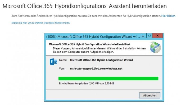 Der Hybridkonfigurations-Assistent lädt immer aktuelle Daten aus dem Internet nach (Screenshot: Thomas Joos).