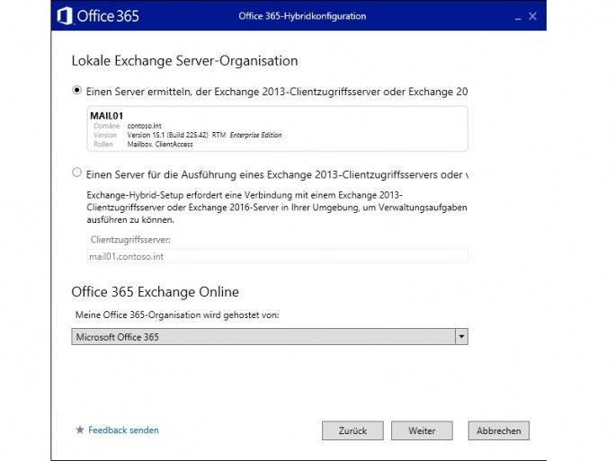 Exchange Server 2016: Hybridkonfiguration (Bild: Thomas Joos)