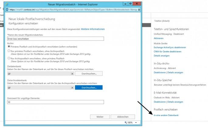 Mit Migrationsaufträgen lassen sich Postfächer von den Quell- auf die Ziel-Server übertragen (Screenshot: Thomas Joos).
