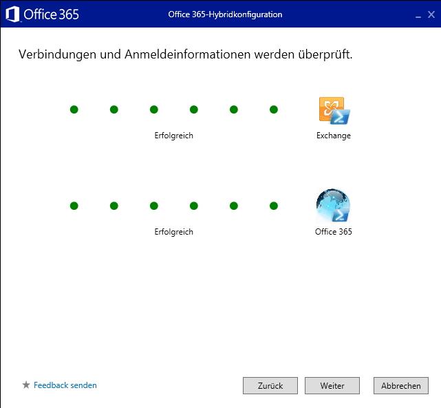 Der HCW überprüft die erfolgreiche Anbindung an Exchange und Office 365 (Screenshot: Thomas Joos).