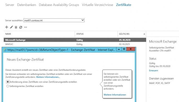 Die Exchange-Zertifikate der lokalen Server müssen vor der Anbindung an Office 365 optimal konfiguriert werden (Screenshot: Thomas Joos).