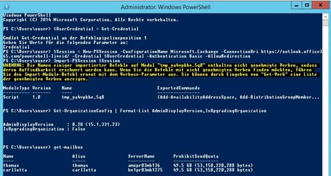 Office 365 lässt sich in einer PowerShell-Sitzung oder der Exchange Management Shell einbinden (Screenshot: Thomas Joos).