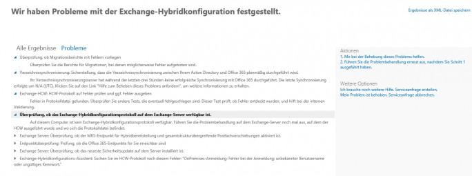 Exchange-Hybriddiagnose findet Fehler bei der Anbindung an Office 365 und zeigt Lösungsansätze an (Screenshot: Thomas Joos).