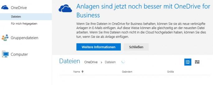 In Hybrid-Umgebungen lassen sich Dateianhänge auch direkt über OneDrive for Business als Link einfügen (Screenshot: Thomas Joos).