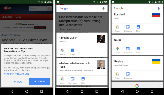 Google Now on Tap liefert zusätzliche Informationen in Kartenform (Screenshots: ZDNet.de).