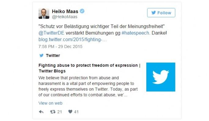 Heiko Maas Twitter (Screenshiot: ZDNet.de)