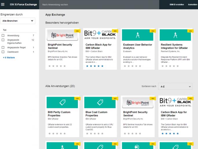 Der IBM Security App Exchange enthält zum Start über ein Dutzend Anwendungen mit QRadar-Technik (Screenshot: ZDNet.de).