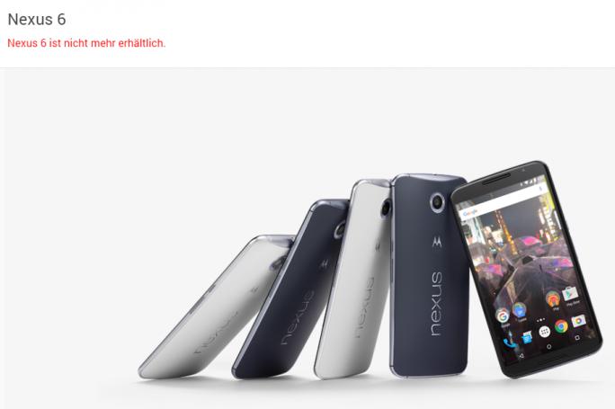 """Das Nexus 6 ist im Google Store """"nicht mehr erhältlich"""" - dafür aber bei Hersteller Motorola (Screenshot: ZDNet.de)."""
